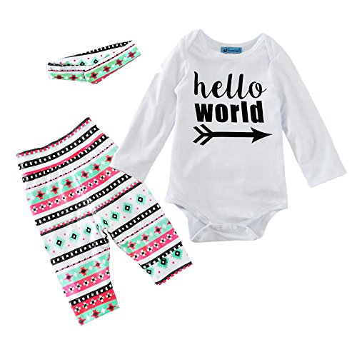 Baby & Toddlers Hello World Outfit Set with Headband, Romper Onesie & Leggings