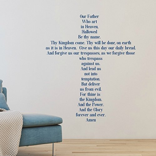 The Lord's Prayer Wall Sticker, Our Father Prayer Cross Decal, Print Font 30 Colors Several Sizes