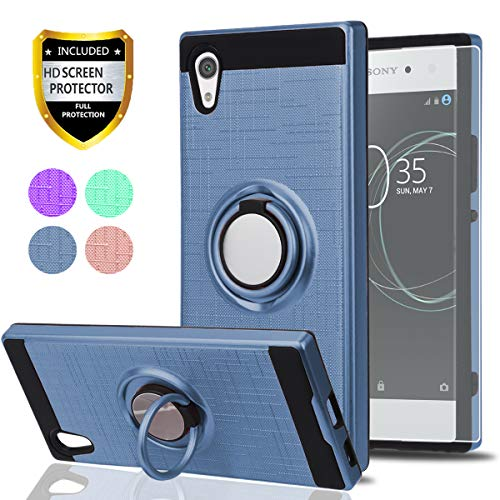 Sony Xperia XA1 Case with HD Phone Screen Protector,Ymhxcy 360 Degree Rotating Ring & Bracket Dual Layer Shock Bumper Cover for Sony Xperia XA1 5(2017)-ZH Metal Slate