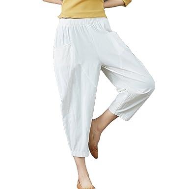 Hibote Pantalon de Harem en Lin pour Femme élastique Taille Womens Casual  Pantalon d été Pantalons 3 4 Longueur Capri  Amazon.fr  Vêtements et  accessoires 7d47aa464025