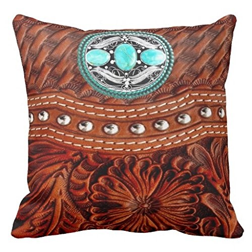 Vincent Vivi Large Tooled Western Leather And Turquoise Medallion Throw Pillow Case