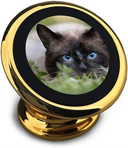 青い目をした猫 携帯電話ホルダー おしゃれ 車載ホルダー 人気 磁気ホルダー 大きな吸引力 サポートフレーム 落下防止 360度回転