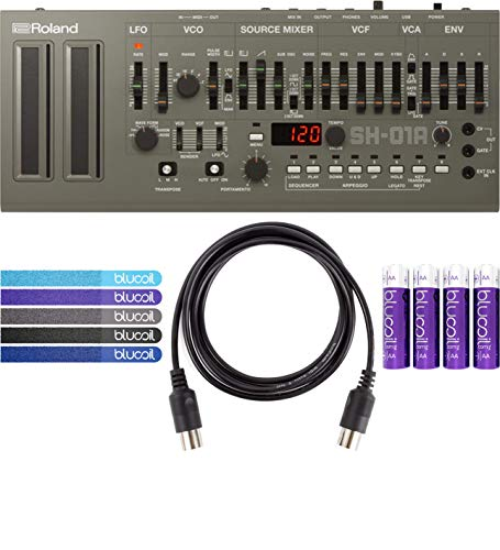 Roland SH-01A Sound Module with Integrated Arpeggiator, Sequencer BUNDLED WITH 4-Pack of AA Batteries AND 5-Pack of Cable Ties