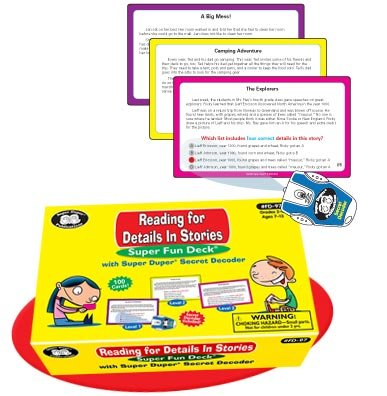 Super Duper Publications Reading for Details in Stories Fun Deck Flash Cards with Secret Decoder Educational Learning Resource for Children by Super Duper Publications