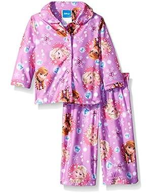 Baby Girls' Frozen Elsa and Anna's Gem Hearts 2-Piece Pajama Coat Set