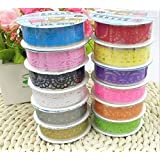 Duolaimai 10pcs Roll Decorative Sticky Adhesive Lace Cotton Washi Tape for DIY Craft(A pack of 10)