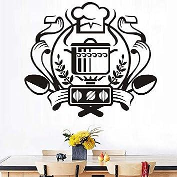 ZOUJIE Pegatinas de Pared Impermeable Chef Insignia Etiqueta de La Pared Caldera Estufa de Gas Tatuajes de Pared Cocina Decoración para el hogar 67 * 59 cm: ...