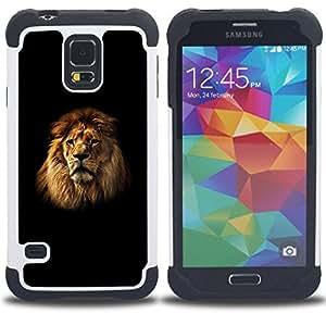 For Samsung Galaxy S5 I9600 G9009 G9008V - Lion Mane Black Minimalist Powerful /[Hybrid 3 en 1 Impacto resistente a prueba de golpes de protecci????n] de silicona y pl????stico Def/ - Super Marley Shop -