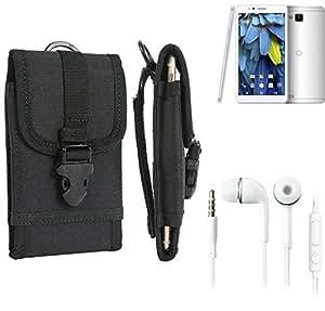 bolsa del cinturón / funda para odys Neo 6, negro + Auriculares | caja del teléfono cubierta protectora bolso - K-S-Trade (TM)
