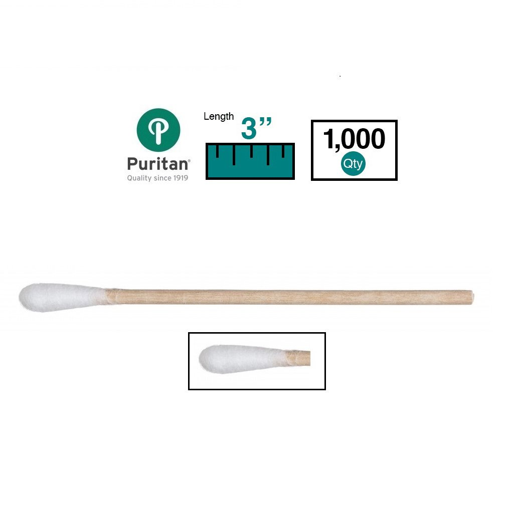 Puritan Medical 3'' Standard Cotton Swab w/Wooden Handle - 803-WC (Box of 1000)