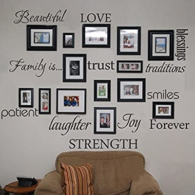 Family Wall Decal Set of 12 Family Words Quote Vinyl Family Wall Sticker Picture Wall Decal Family Room Art Decoration
