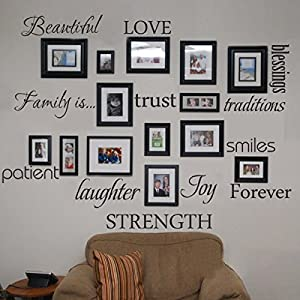 Family Wall Decal Set of 12 Family Words Quote Vinyl Family Wall Sticker  Pict.