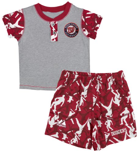 (MLB Washington Nationals Platoon System Henley Shorts Set, Steel, 2 Toddler)