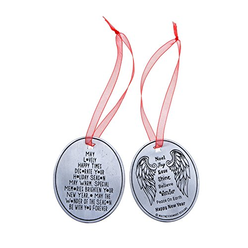 Two-Sided Pewter 'Angel' Ornament on Bells Backer Card