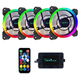 Apevia 412L-RGB Spectra 120mm Silent Dual Ring Addressable RGB Color Changing LED Fan for Gaming with Remote Control, 16x LEDs & 8x Anti-Vibration Rubber Pads (4-pk)