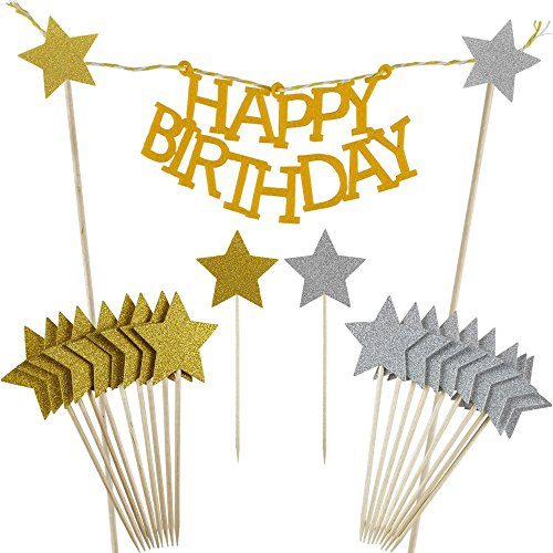 Star Cake Birthday (Shxstore Gold Happy Birthday Cake Bunting Banner Star cupcake toppers picks for Baby Shower Party Favors Decorations Supplies, 21 Counts)
