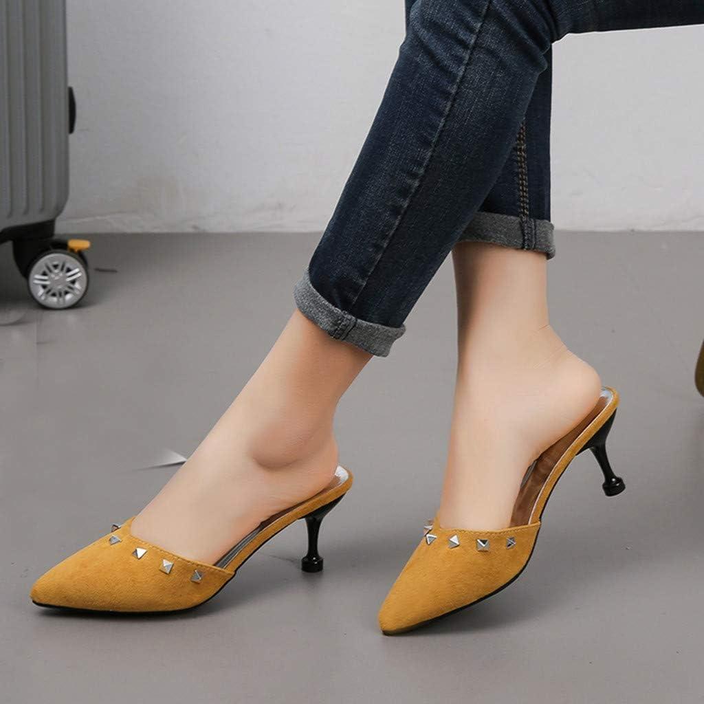Hausschuhe Damen,Pointed Toe Heels Outdoor Rutschfeste Kitten-Heel Sandalen Mode Elegant St/öckelschuhe High Heels Slippers Mit Niet TWBB