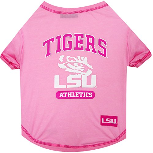 NCAA LSU Tigers Pet Pink T-Shirt, X-Small. - Dog Pink Outfit.