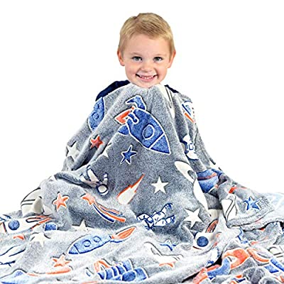 Space Blanket Glow in the Dark Luminous Astronaut Blanket for Kids - Soft Plush Star Space Ship & Planets Blanket Throw For Girls & Boys - Large 60in x 50in Glowing Starry Night Rocket Blankets Gift: Home & Kitchen