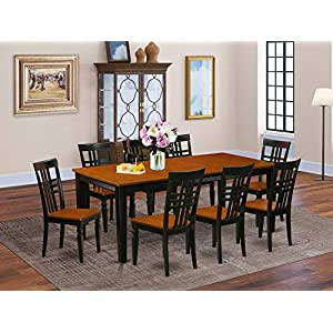 9 PC Table set with a Dining Table and 8 Dining Chairs in Black and Cherry