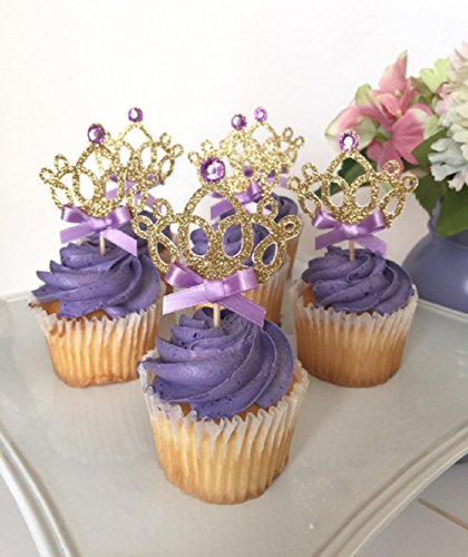 Sharlity 12pcs Purple Crown Cake Cupcake Decorative Cupcake Topper for Kids Birthday Party Themed Party Baby Shower