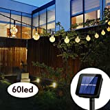 Solar String Lights Globe 33 Feet 60 Crystal Balls Waterproof LED Fairy Lights 8 Modes Outdoor Starry Lights Solar Powered String Light for Garden Yard Home Party Wedding Decoration (Warm White)