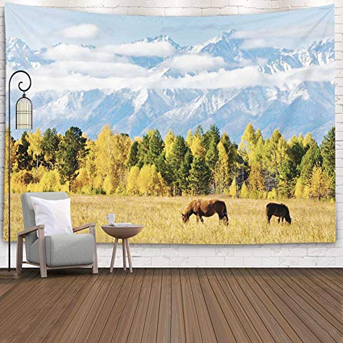 Jacrane Wall Hanging Tapestry, Dorm Tapestry Hang Wall Tapestry 80X60 Inches Magnificent Autumn Landscape Grazing Valley Background Snowy Mountain Art Tapestry for Dorm Bedroom Living Home Decor