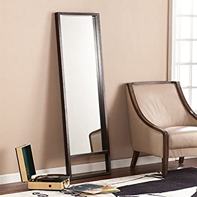 Southern Enterprises Jaxon Leaning Mirror in Ebony Stain - Finish: Ebony Stain Material: Manufactured Wood, Veneer, 4mm Mirror Universal Style - mirrors-bedroom-decor, bedroom-decor, bedroom - 51S4d1rya1L. SS400  -