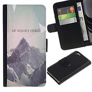 NEECELL GIFT forCITY // Billetera de cuero Caso Cubierta de protección Carcasa / Leather Wallet Case for Apple Iphone 5 / 5S // Arte Requiere Coraje