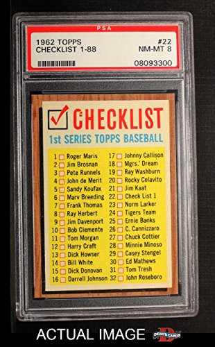 1962 Topps # 22 ERR Checklist 1 (Baseball Card) (Lists Cards 121 to 176 on the Back) PSA 8 - NM/MT