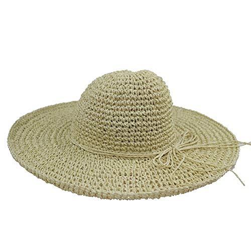 YUGUO Sunhat Crochet Hat Female Large Brimmed Hat Along The Seaside Summer Beach Hat Bow Visor Sun Hat for Women and Girl