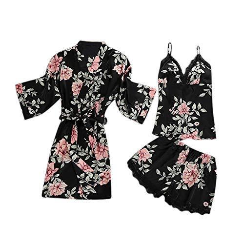 Seda Conjuntos Piezas Sin Tres Cortos Sexy Estampado Mangas Pijamas Sleepwear De l Pantalones Floral Túnica Chalecos Home gZHwnqf