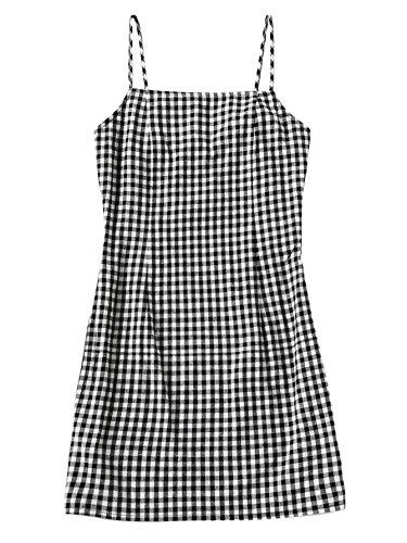 SweatyRocks Women's Sleeveless Adjustable Strappy Summer Beach Plaid Pleated Cami Dress Black White (Plaid Dress)