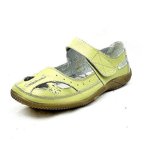 Piel verde claro pista de ajuste ajustable zapatos planos Verde