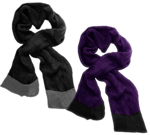 Peach Couture Loose Border Hand Knit Warm Scarf 2 Pack Black, Purple