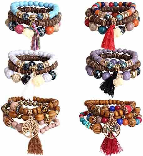 Hicdaw 6 Sets Bohemian Beaded Bracelets Set for Women Multilayer Tassel Bracelet Set Gifts for Women Girls