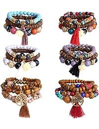 6 Sets Bohemian Beaded Bracelets Set for Women Multilayer Tassel Bracelet Set Gifts for Women Girls