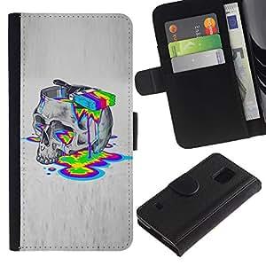 KingStore / Leather Etui en cuir / Samsung Galaxy S5 V SM-G900 / Colores de pintura Lsd Droga Cráneo ácido Profundo
