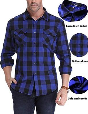 iClosam Mens Casual Long Sleeve Checkered Plaid Button Down Flannel Shirt