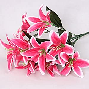 Zebery Artificial Flowers Shrubs for Decoration Faux Lifelike Plastic Pure Lily Flowers Plants Indoor Outside Home Garden Wedding Living Room Coffee Bar Decor 1