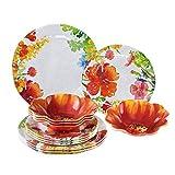 Gourmet Art 12-Piece Floral Melamine Dinnerware Set