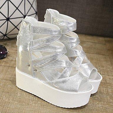 Black UK5 US7 Zipper PU Casual CN38 Silver Sandals Women's 5 Creepers Summer EU38 White 5 qfRFCn0