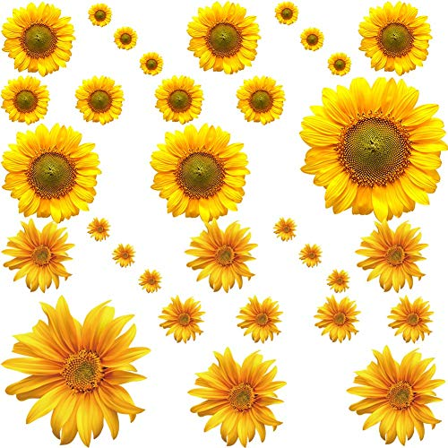 (Sunflower Decor, 32Pcs Yellow Flower Wall Stickers, Removable Wall Art Decor Floral Decals for Nursery Living Room Kitchen Party Decorations)