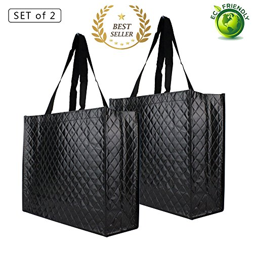 Reusable Grocery Bags-Supermarket Shopping Bags Large/Medium Non-Woven Fold Flat Wipe Clean (2, Diamond Pattern - Woven Bag Market
