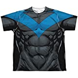 Batman Nightwing Blue Uniform Big Boys Sublimation Shirt White LG