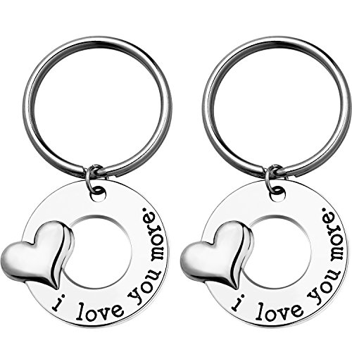 TecUnite 2 Sets I Love You More Keychain Key Chain Gift for Mother Daughter Father Daughter Girlfriend Boyfriend (Love Keychain)