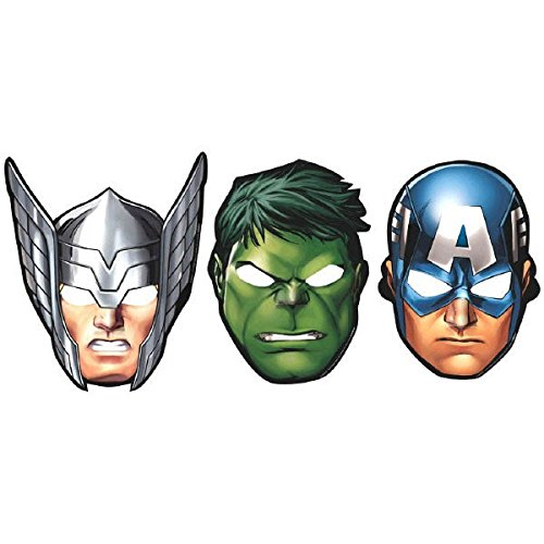 Marvel Masks (Marvel Avengers Hats/ Masks, 8 Count, Party Supplies)