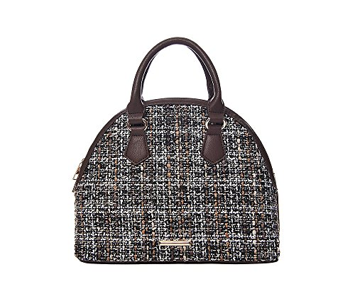 71396 Brown tweed bowling bag