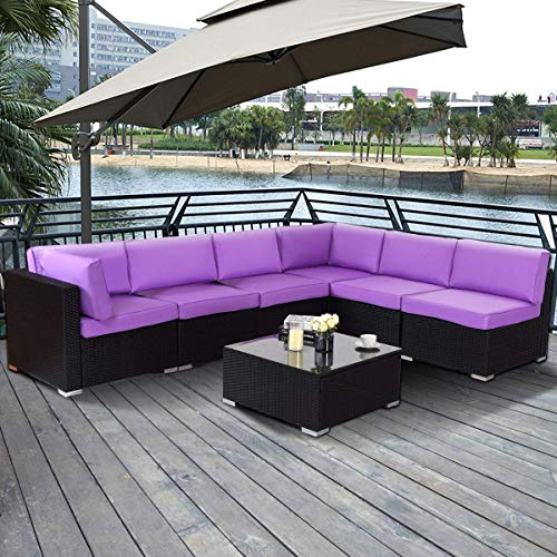 Tangkula Patio Furniture Set 7 Piece Outdoor Indoor Pool Balcony Garden Durable All Weather PE Wicker Rattan Sectional Cushioned Sofa Set with Extra 2 Pillows Outside Patio Set