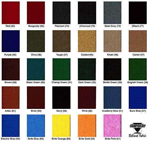 - Championship 8' Invitational Teflon Billiards Pool Table Felt Cloth - Burgundy